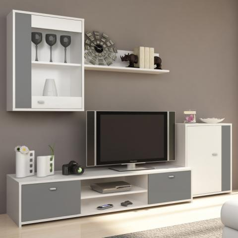 fa2806f1476e GENTA obývacia stena biela sivá